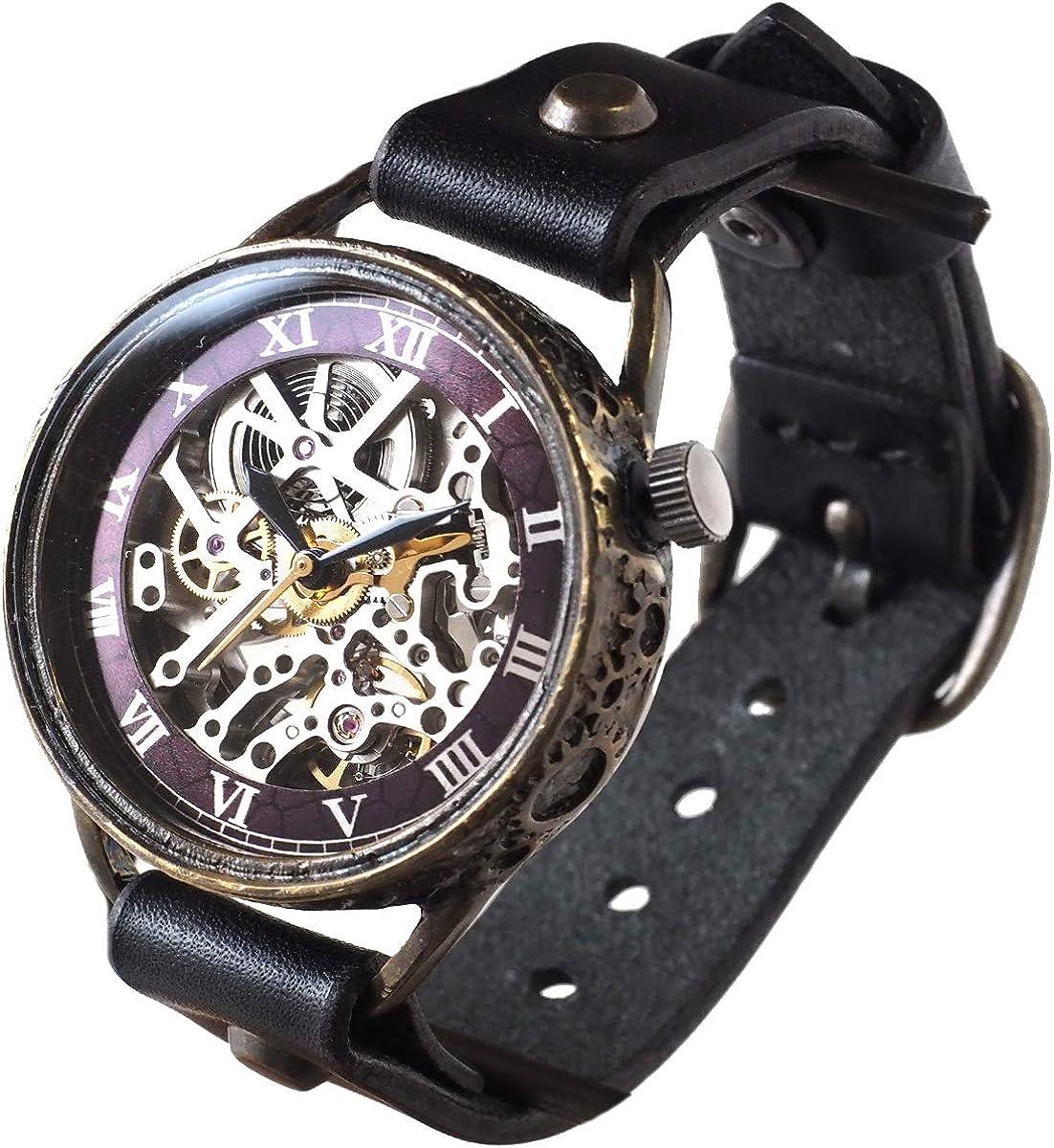 KINO(キノ) 手作り腕時計 自動巻き 裏スケルトン メカニックシルバー ブラック ハンドメイドウォッチ