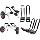 2 Sets Roof J rack Kayak Boat Canoe Car SUV top Mount Carrier with 2 Sets Dolly Cart Trailer Carrier Wheels