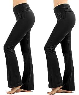 2a7193e0905edb Foldover Contrast Waist Bootleg Flare Yoga Pants with Value Pack Options (S-