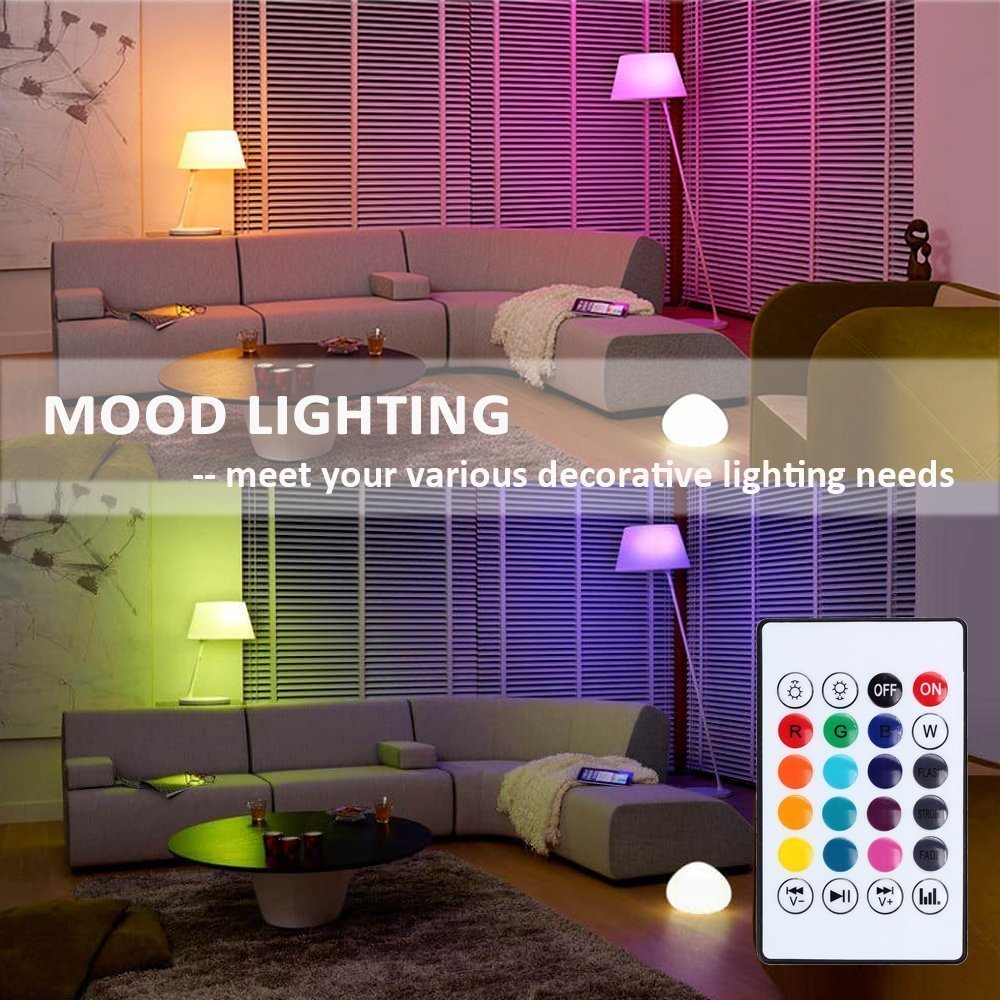 KAILAKE LED Wireless Light Bulb Speaker-RGB Sm Music 2018 New Design Instagram 5000+Likes with Stereo Audio Smart 7W E27 Changing Lam Lamp+24 Keys Remote Control by KAILAKE (Image #6)