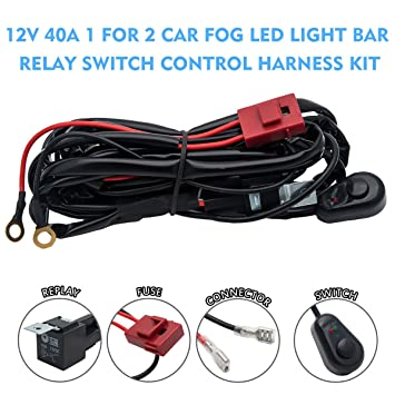 7148%2BVMLQEL._SY355_ amazon com maso 8ft relay wiring harness off road 12v 40a led light