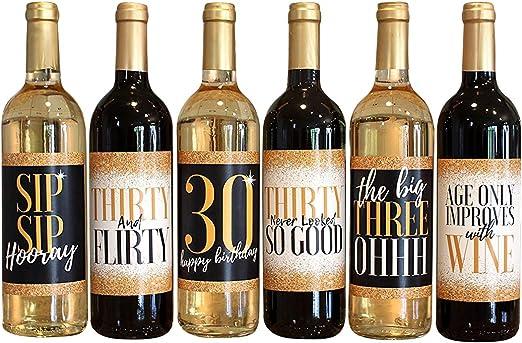 Amazon.com: 30th cumpleaños botella de vino etiquetas – gran ...