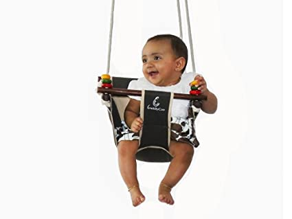 Buy Cuddlycoo Baby Swing Wooden Frame, Cotton Canvas Swing With ...