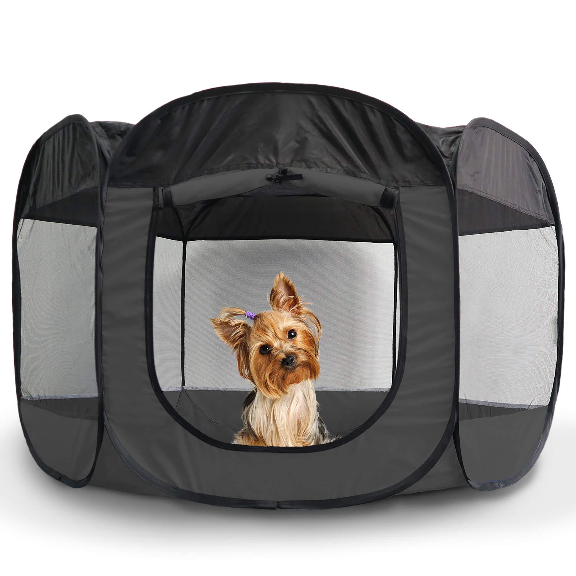 Furhaven Pet Playpen | Mesh Open-Air Indoor & Outdoor Playpen/Exercise Pen for Dogs & Cats, Gray, Small
