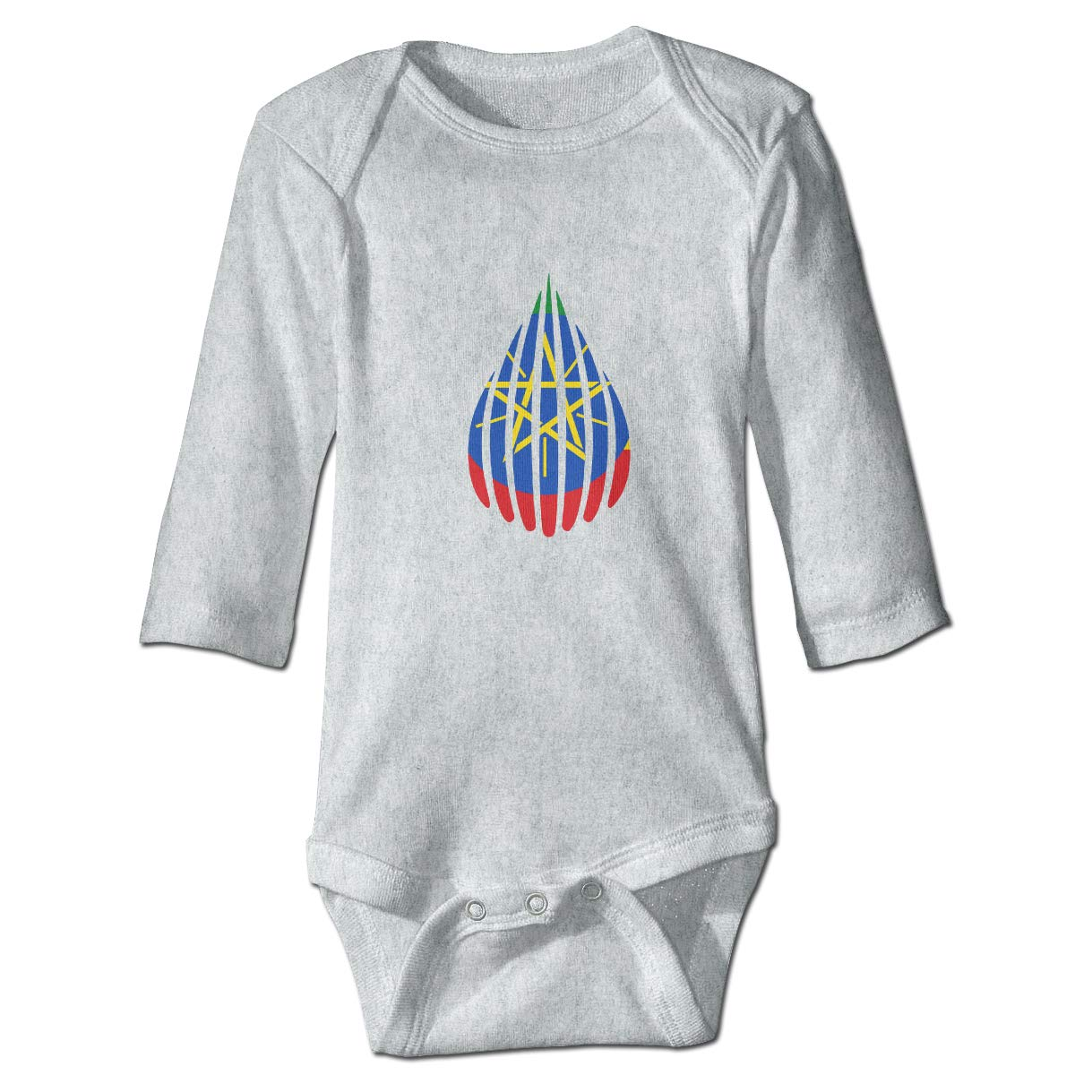 Baby Infant Toddler Long Sleeve Climb Romper Dropil Drop Crypto Ethiopia Flag Unisex Button Playsuit Outfit Clothes