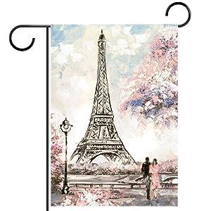 Paris Eiffel Tower Painting Garden Flag, Double Sided Garden Outdoor Yard Flags for Summer Decor 28x40 Inch
