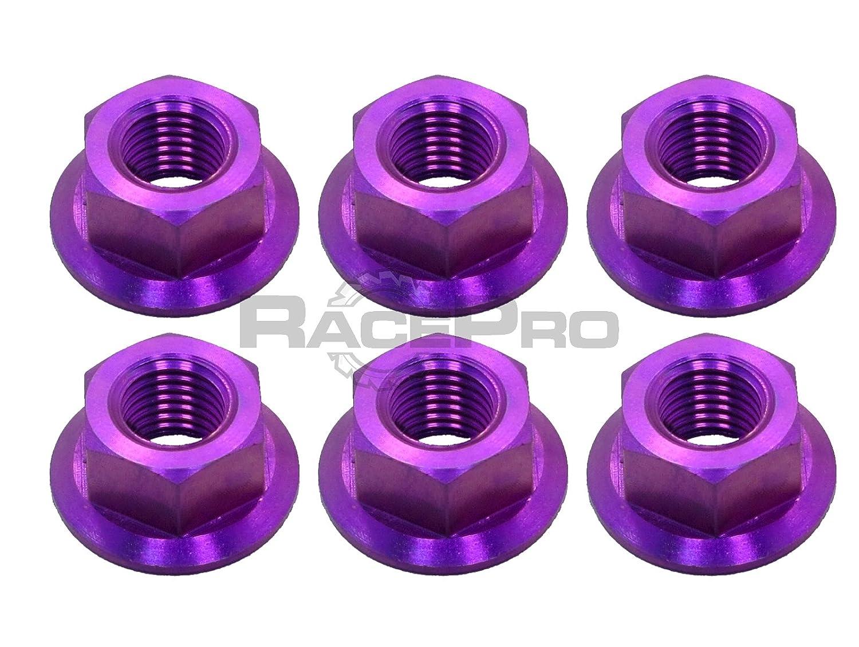 RacePro - Honda CBR929RRY-RR1 Fireblade 00-01 - x6 Ti Sprocket Nuts - Purple