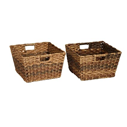 Seville Classics Handwoven Square Shelf Storage Basket 2 Piece Set, Mocha