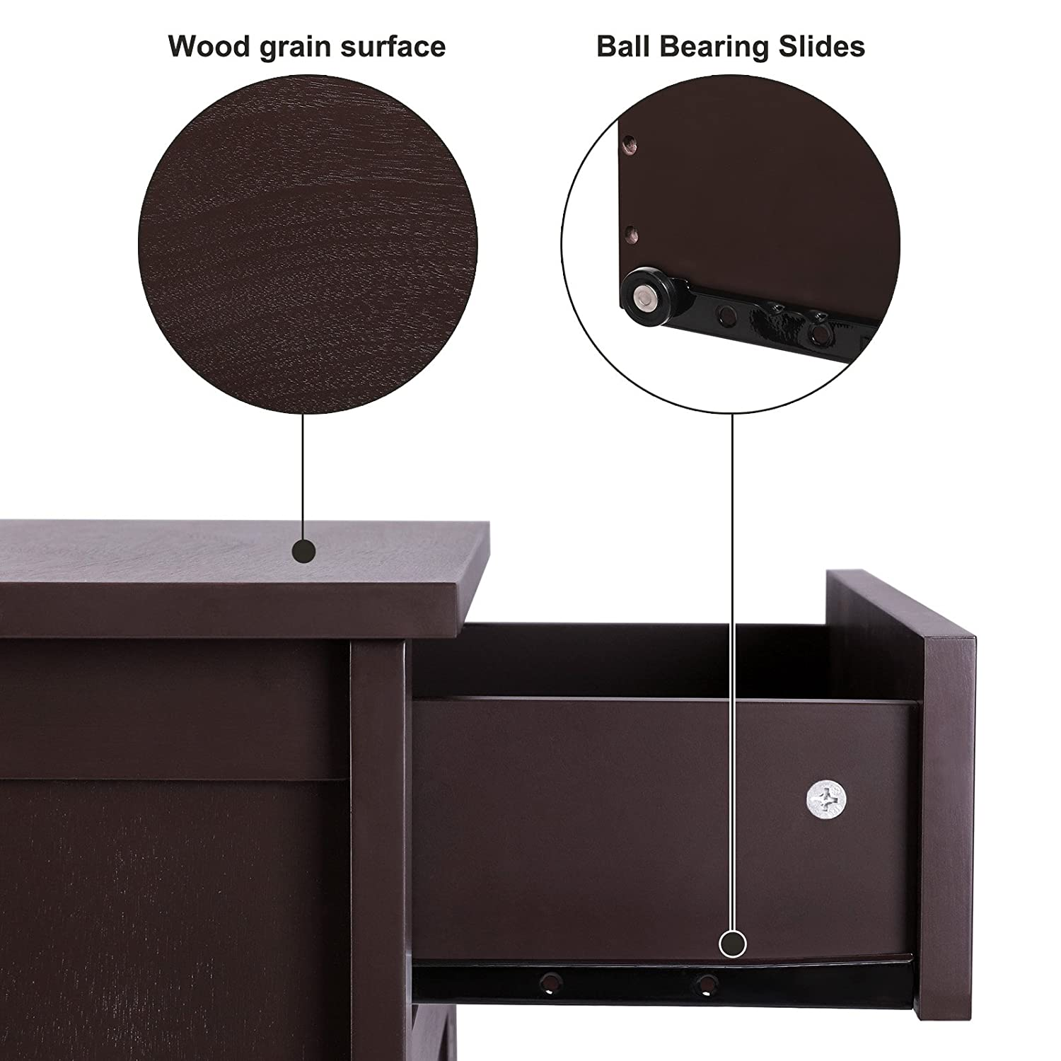 SONGMICS Night Stand Wooden End Table Chair Side Table Wood Furniture with Drawer and Cabinet for Storage Brown ULET02BR