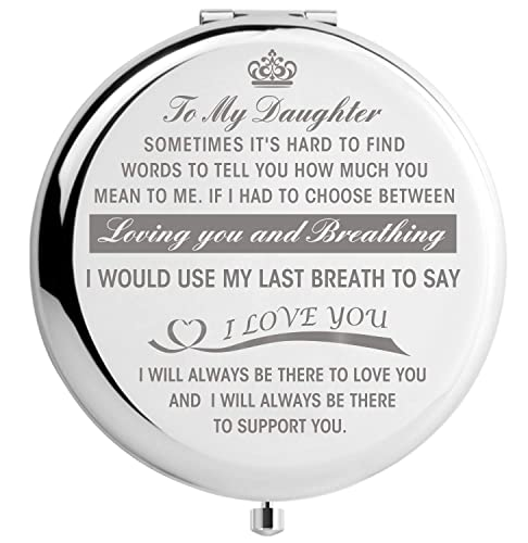 Daughter Gifts from Mom, Graduation Gifts for Her, Mothers Day Present for Daughter, Engraved Pocket Mirror To My Daughter