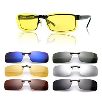 1c15ef5a4a0 SAISZE New Driving Polarized UV 400 Lens Clip-on Sunglasses Glasses Day  Night Vision (