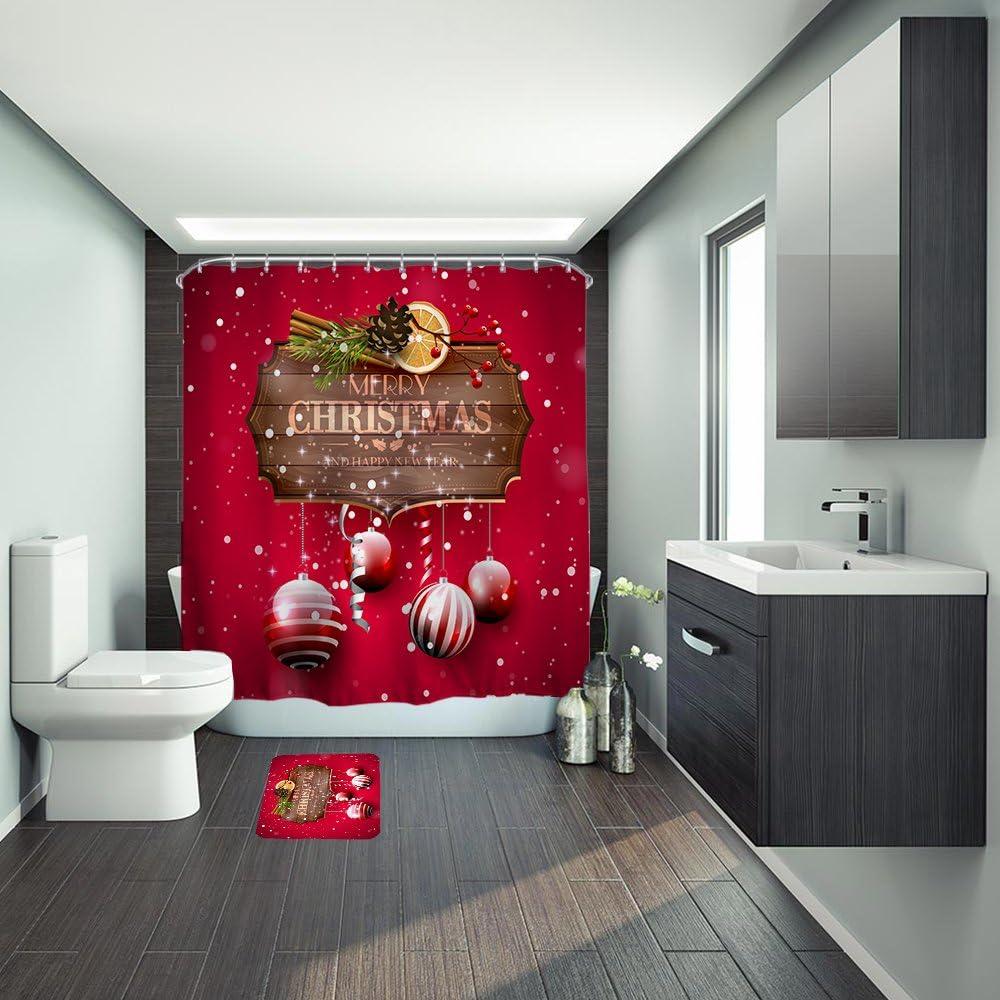 "Christmas Snowflakes Hanging Santa Boots Shower Curtain Set Bathroom Decor 72/"""