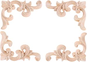 2 Pairs Left&Right Wood Hand Carved Corner Flower Pattern Applique Unpainted Modern Furniture Doors Walls Carved Ornamental Decor 7.5x6cm