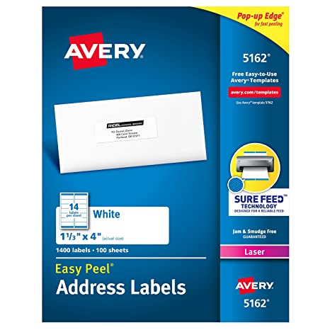 amazon com avery address labels with sure feed for laser printers