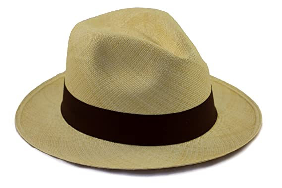 86ca80d4a63 Tumia - Fedora Panama Hat - Natural with Brown Band - Lightweight rollable  version. 54cm