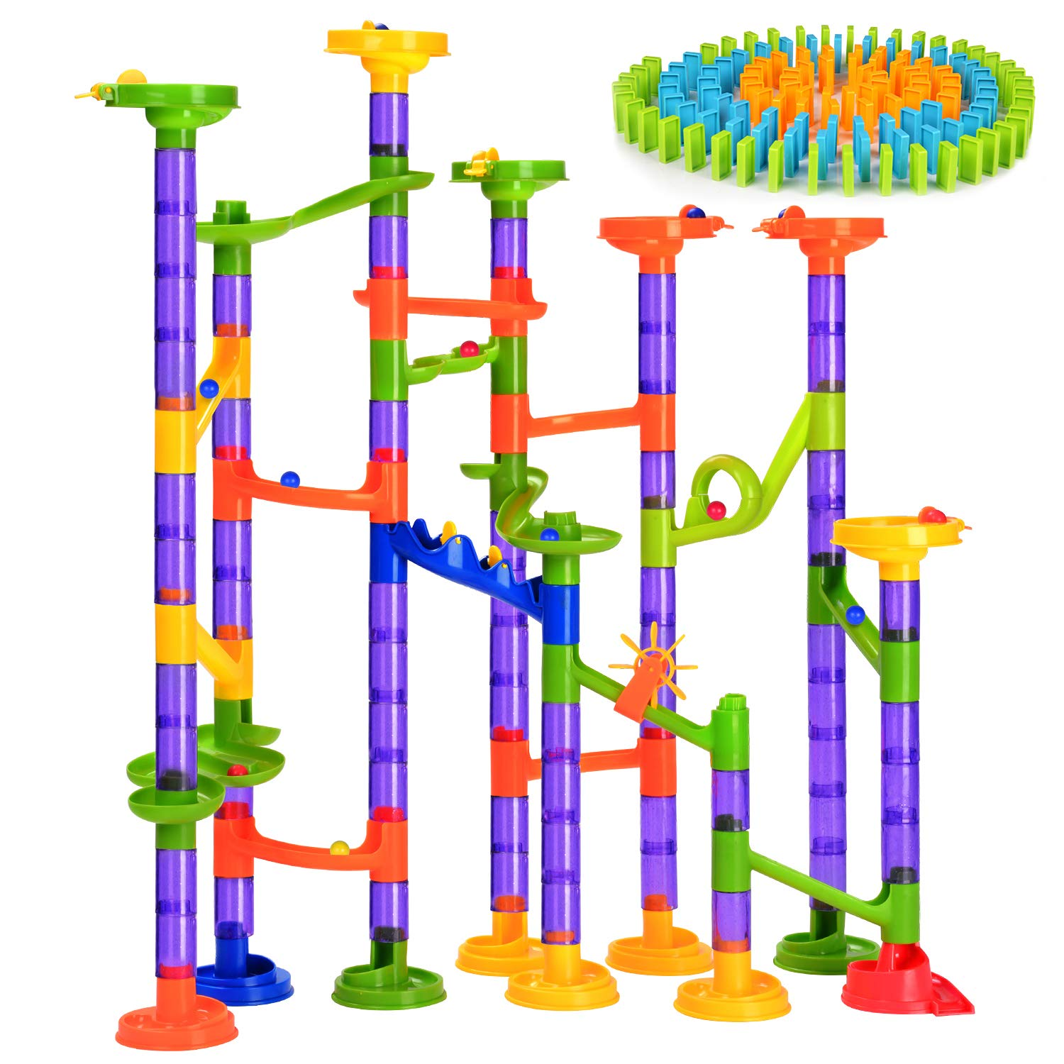 Marble Run [242 Pieces] Building Blocks with Dominoes Marble Game for Kids As Gifts Marble Race Coaster Set STEM Learning Toys