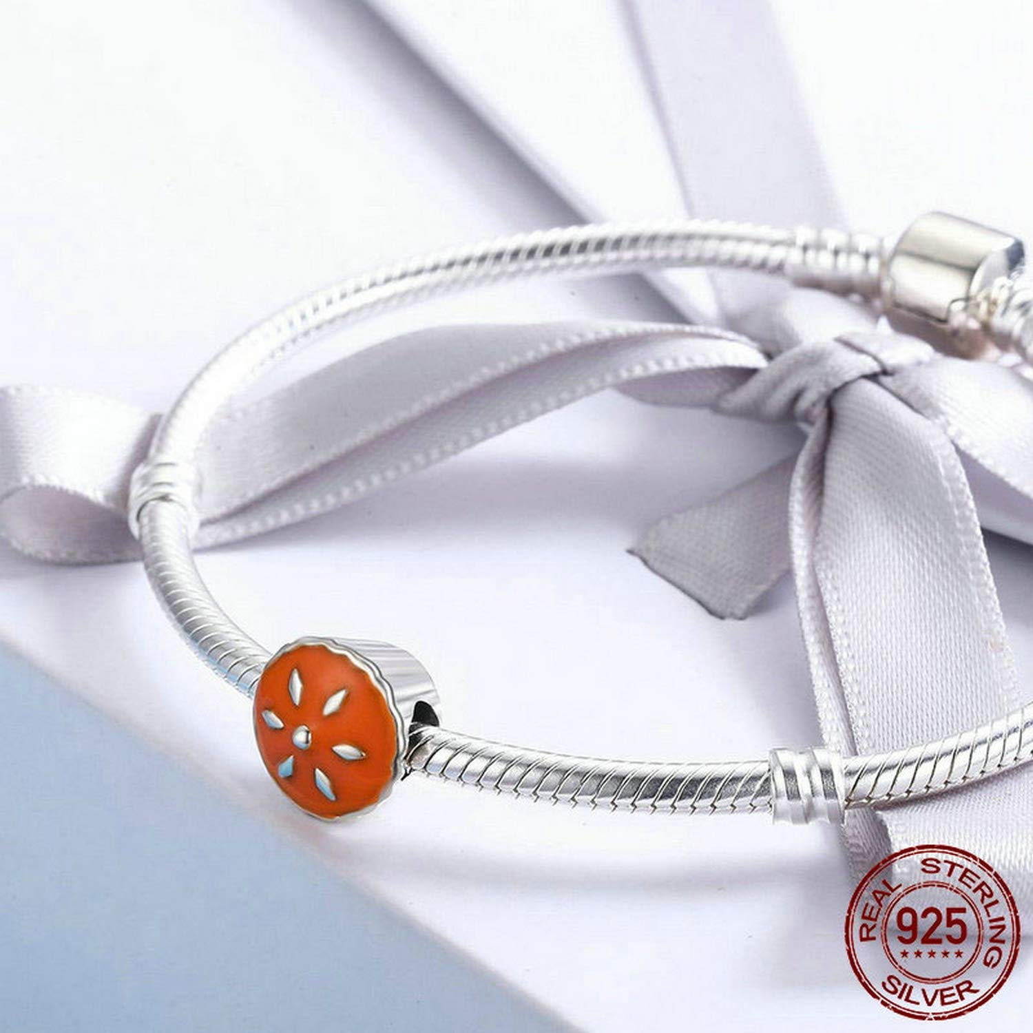 Evereena Silver Beads Bracelet for Girls Sweet Thanksgiving Cake Round Charm Womens Jewelry