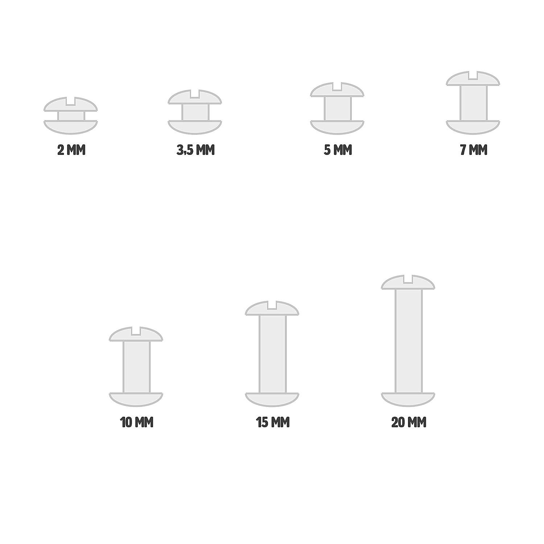 diam/ètre tige de 5/mm T/ête de 10/mm Lot de 25/vis de reliure /& tiges cuivr/ées diff/érentes longueurs disponibles 5 mm cuivr/é