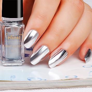 Amazon.com : Pinpai Mirror Silver Nail Polish G133 Super Bright ...