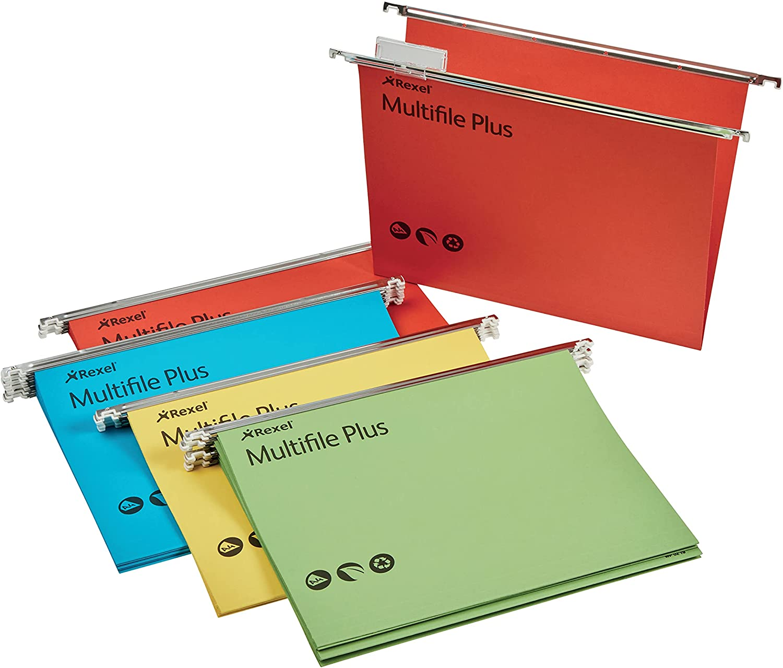 Carpetas colgantes Rexel Multifile Plus tama/ño folio, apertura en V, 15 mm, 20 unidades colores surtidos