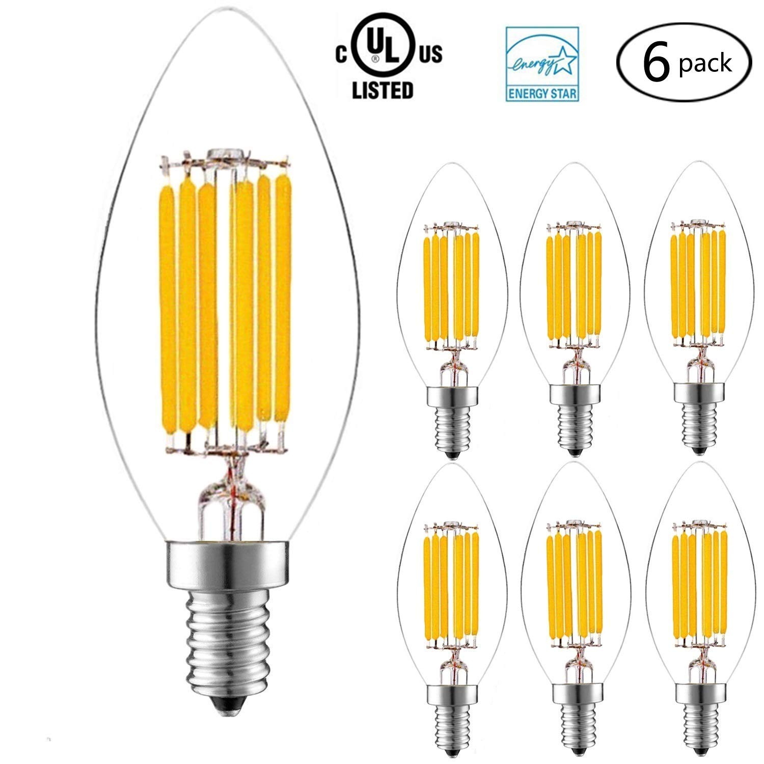 Clear Glass Bullet Top Candle Bulbs 4W E12 Base Vintage Lamp for Indoor Chandelier Or Outdoor Lighting 2700K Warm White 6 Pack Goodia Torpedo Shape Candelabra LED Bulbs