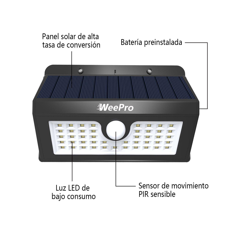 WeePro Lámpara Solar 45 LED Exterior Impermeable, 3 Modos de Luz con Sensor de Movimiento, IP54, Foco Solar para Jardín, Piscina, Terraza, Patio, ...