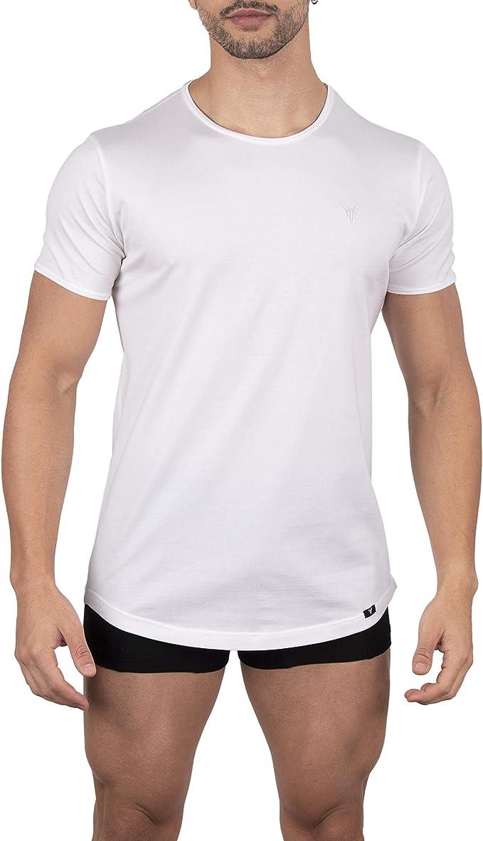 YARK Camiseta Interior para Hombre Cuello Redondo Manga Corta Algodon Blanca Gris Hilo de Escocia Excelente: Amazon.es: Ropa y accesorios