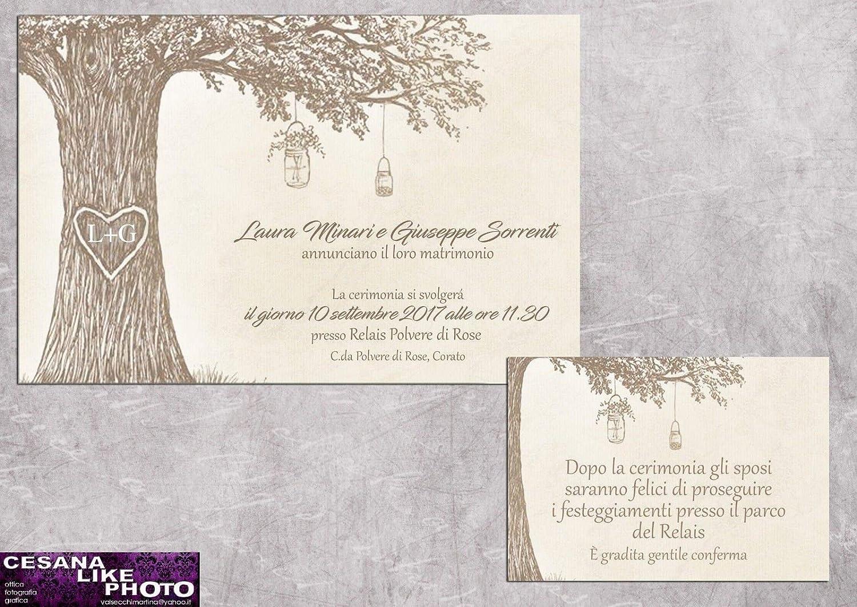 Stampa Partecipazioni Matrimonio Personalizzate.Partecipazioni Matrimonio Personalizzate Inviti Nozze Albero Con