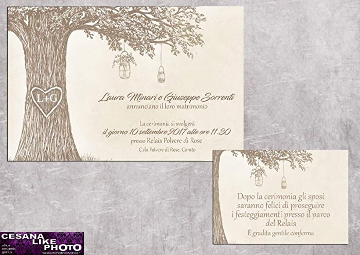 Partecipazioni Matrimonio Amazon.Partecipazioni Matrimonio Personalizzate Inviti Nozze Albero Con