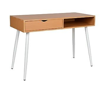 Schreibtisch design holz  ts-ideen Design Holz Schreibtisch Computer Arbeitstisch Konsole Tisch MDF  Holzoptik und weiße Beine