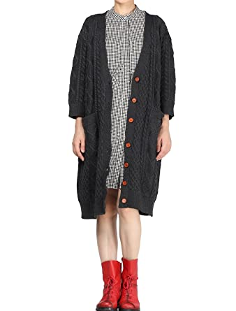 289fb481d788e Vogstyle Women s Plus Size Long Sweater Coat Grey  Amazon.co.uk ...