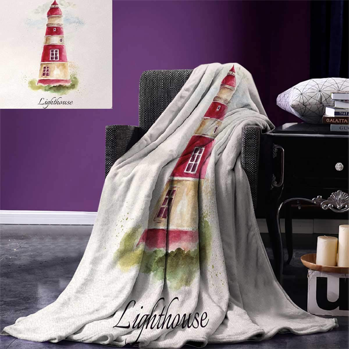 smallbeefly Lighthouse Digital Printing Blanket Watercolor Lighthouse Print Pastel Faded Vintage Lettering Windows Grass Clouds Summer Quilt Comforter 80''x60'' Multicolor