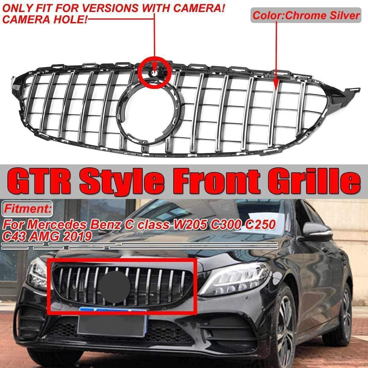 Black ZQTG GTR GT Grill Auto Frontgrill For Mercedes Benz C Class W205 C300 C250 C43 2019 Silver With Camera