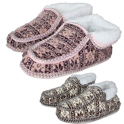 9aca92a8852ba Women's Ladies Textile Nordic Pattern Slipper Soft Shoes Boots Knit ...