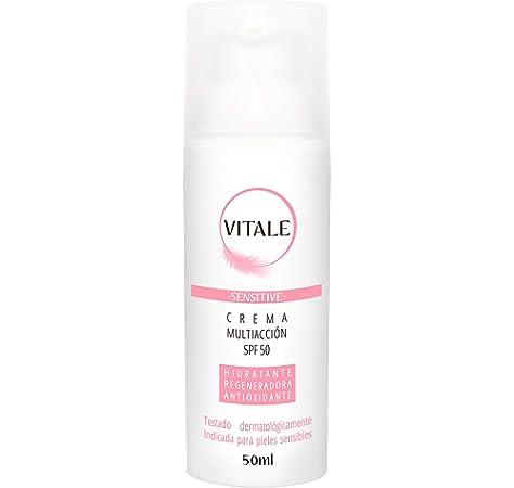 Crema Hidratante Facial mujer | Crema Antiarrugas mujer Reafirmante Protección Solar 50 y un suave toque de color que ilumina y rejuvenece. Textura ligera ideal para todo tipo de pieles. Vitale 50ml: