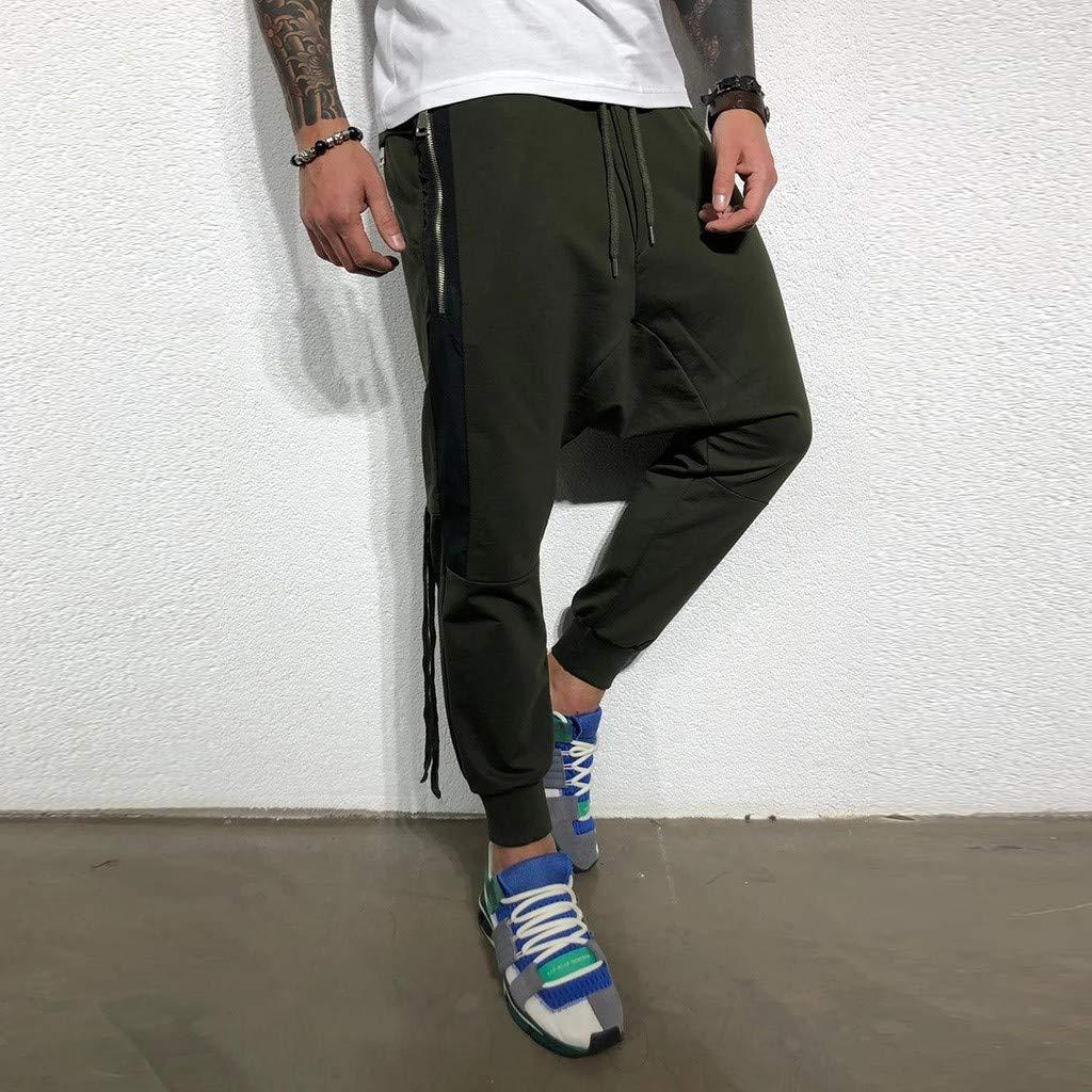 Men/'s Harem Jogger Pants Men Slim Fit Low Crotch Drawstring Baggy Sweatpants Hip Hop Trousers with Zip Pocket