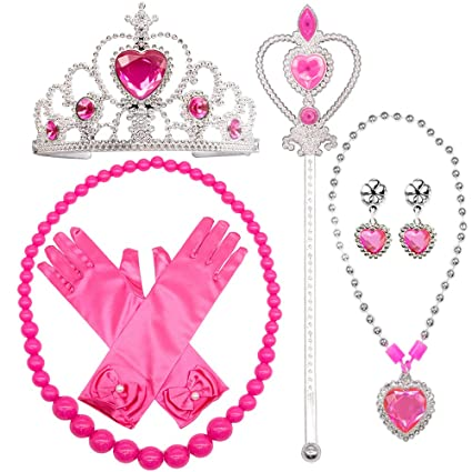 Princess Belle Dress up Accessories 5 Gifts Set Gold Gloves Tiara Crown Necklace