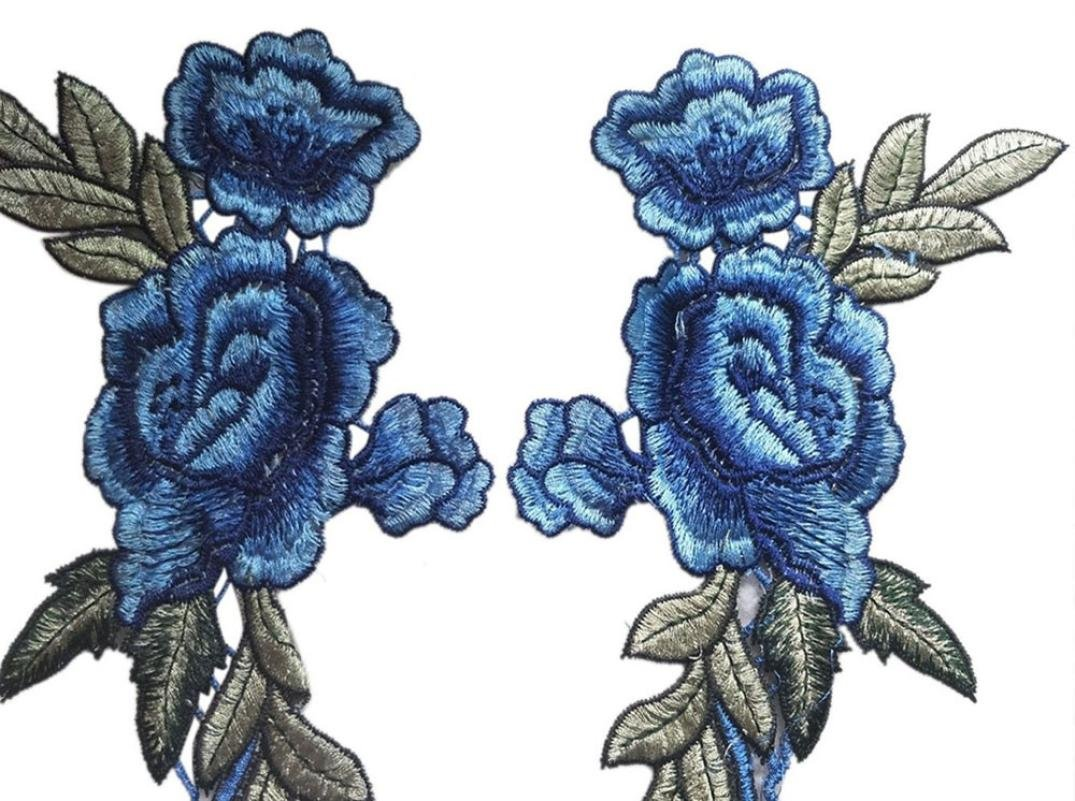 Blue Transer 2PC DIY Embroidered Roses Floral Collar Sew Patch Sticker Applique Badge