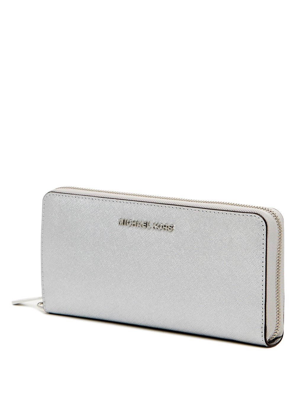 Michael Kors Jet Set Travel Silver Flat Tech Continental Wallet