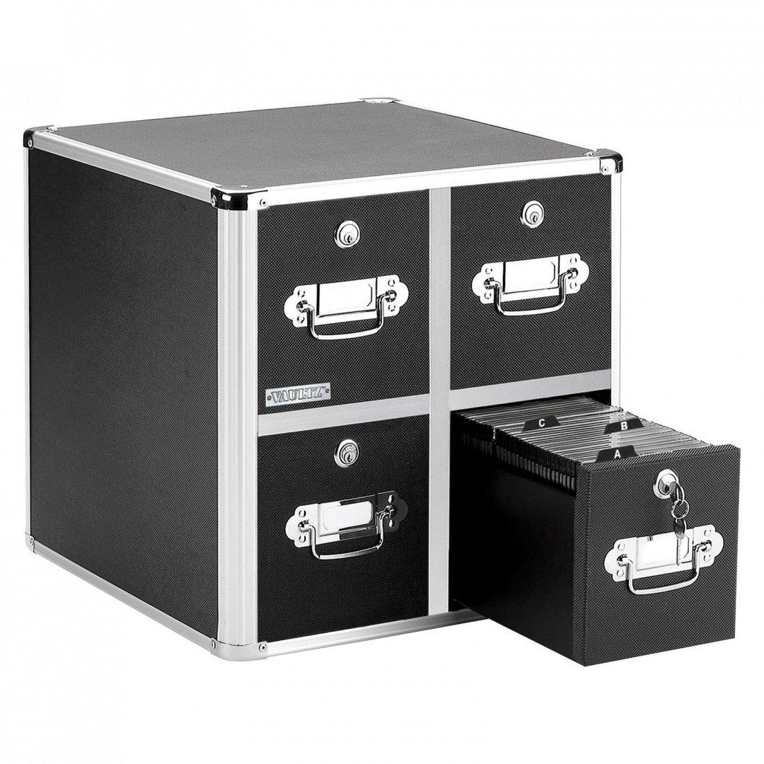 VAULTZ VZ01049 Four-Drawer CD File Cabinet, Holds 660 Folders/240 Slim/120 Std. Cases