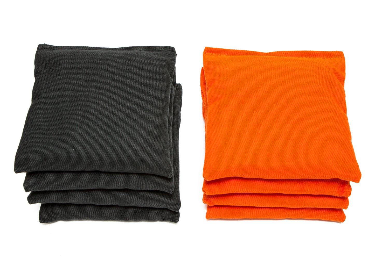 Weather Resistant Cornhole Bags (Set of 8) by SC Cornhole (Black/Orange)
