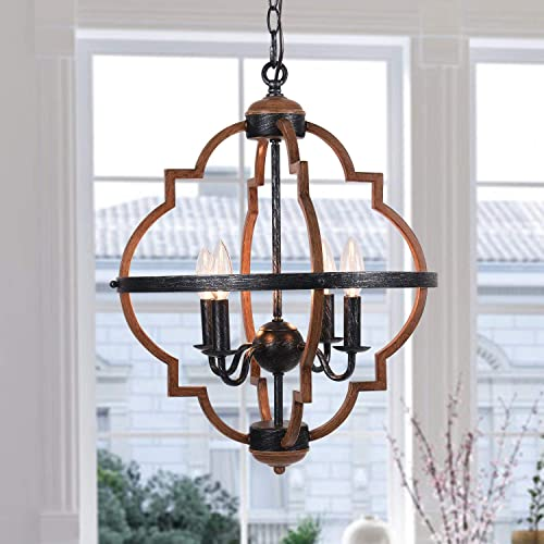 Zicbol Farmhouse Chandelier 4-Light Candle Style Metal Vintage Pendant Light Rustic Chandelier Lighting Fixture