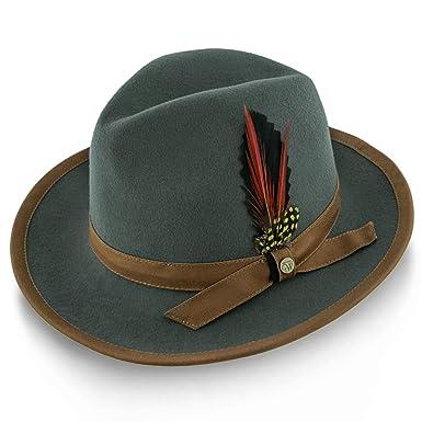 effd4fb1d7919 Amazon.com  Walrus Hats Pinnacle Wool Felt Fedora Hat - H7022  Clothing