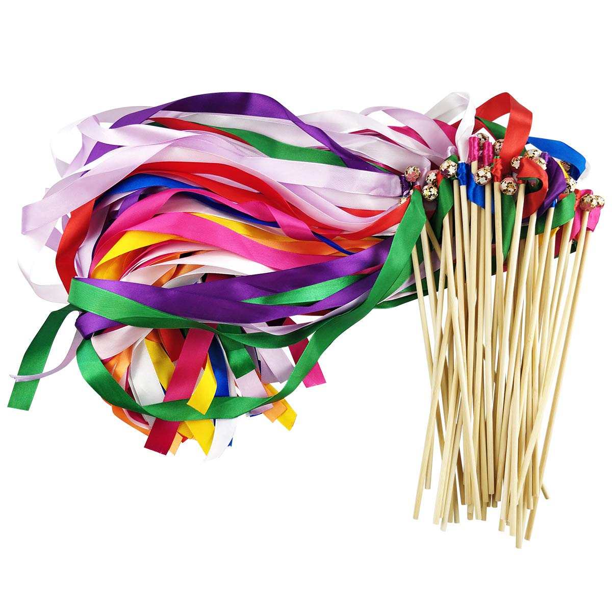 Cieovo Pack of 50 Silk Ribbon with Bells Streamers Wands Fairy Stick Mix Colour for Baby Shower Holiday Celebration Wedding Christmas Birthday Party   B07JWBT3YP