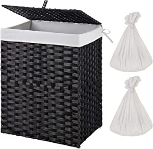 Greenstell Handwoven Laundry Hamper with 2 Removable Liner Bag, Synthetic Rattan Laundry Basket with Lid and Handles, Foldable and Easy to Install Black (Standard Size)
