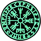 Vegvisir Viking Brújula Norse Rune Morale Táctica Resplandor en el parche oscuro Bordado de Aplicación con Plancha