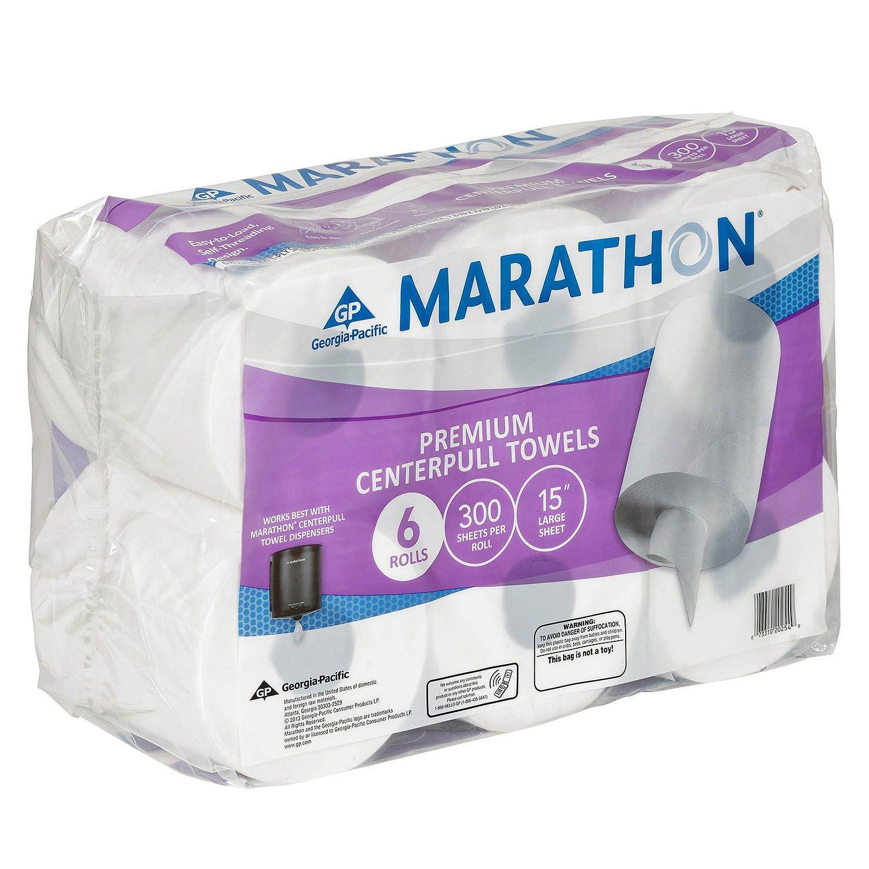 Marathon Center Pull Premium Paper Towel Rolls, 1,800 Sheets (6 Rolls) by Marathon