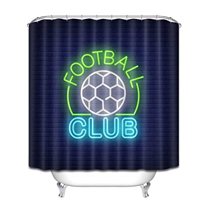 LB Neon Light Football Club Sign Stall Shower Curtain Set European Sports Themed Bathroom