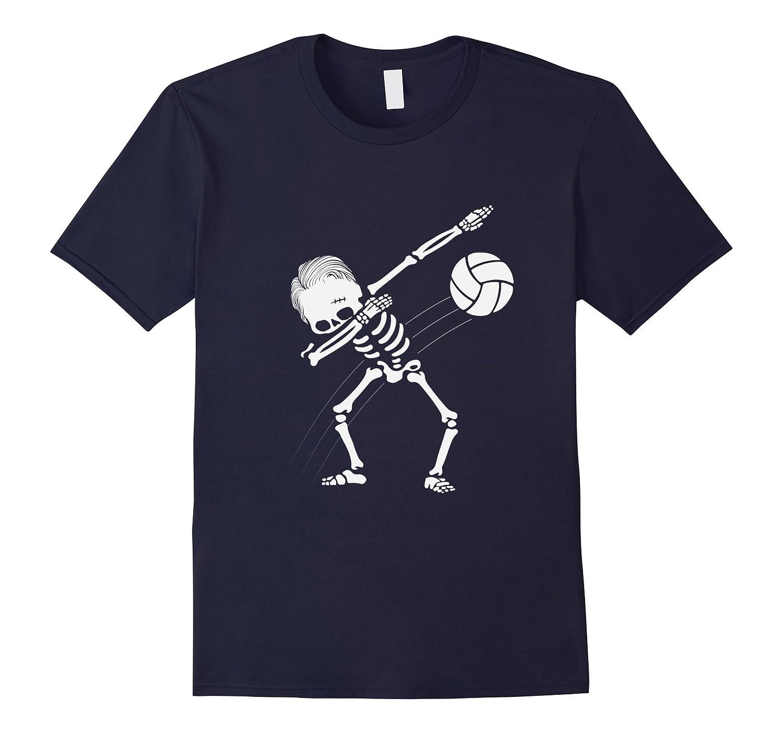 Dabbing Skeleton Volleyball T-Shirt - Funny Halloween Tee-FL