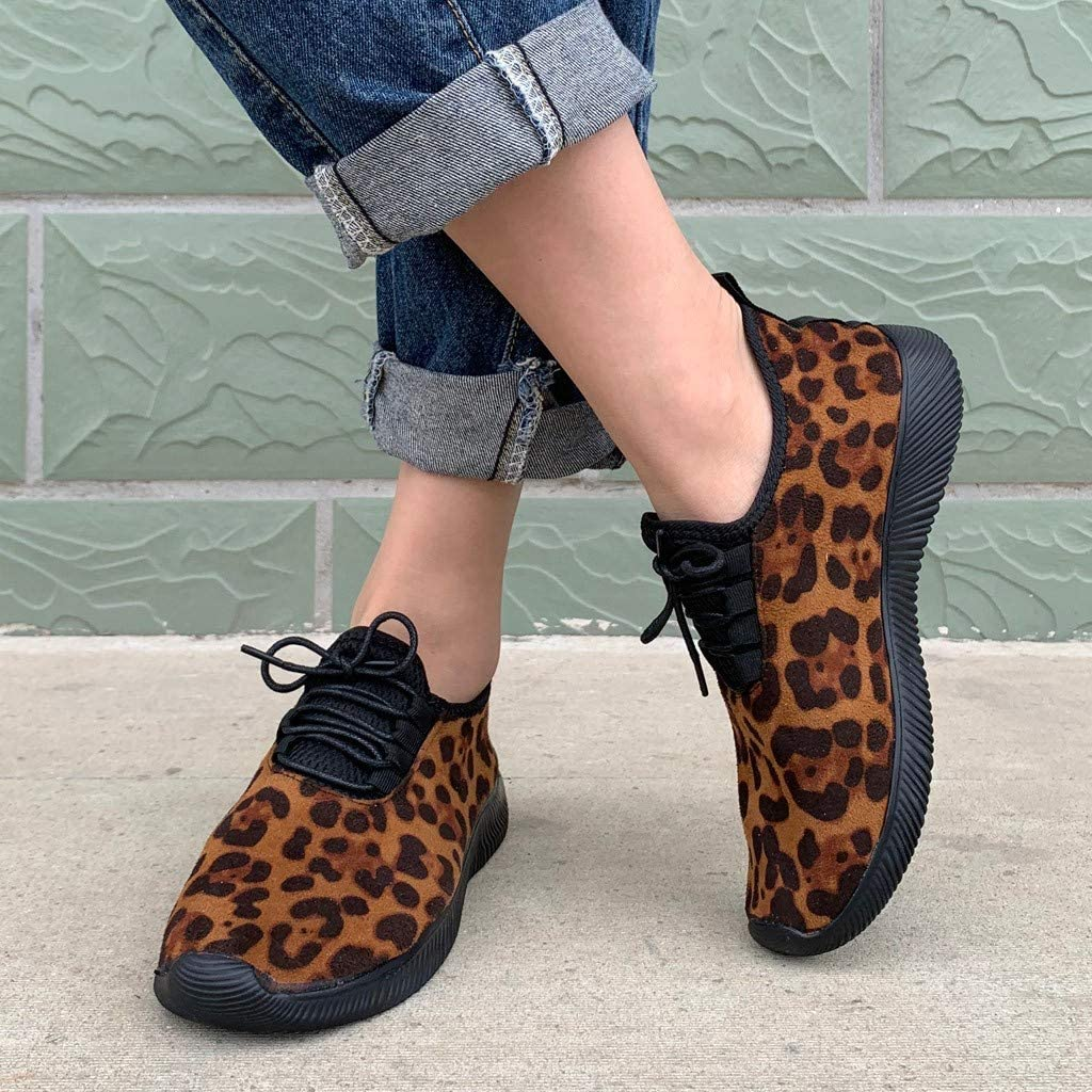 Womens Leopard Print Shoes Ladies Boots Ankle Casual Sneakers Sports Fashion Outdoor Shoes Runing Soft Bottom Shoes 36, White